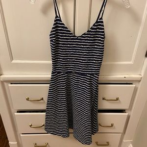 navy blue and white summer fancy-casual dress